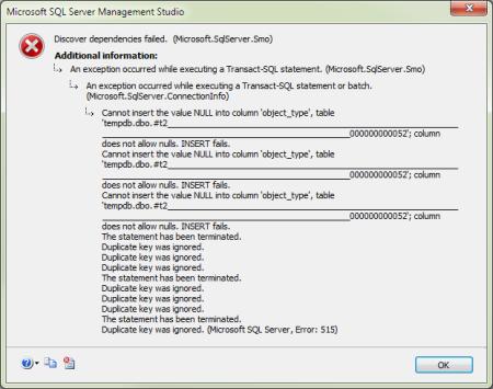 SSMS: Discover dependencies failed. (Microsoft.SqlServer.SMO)