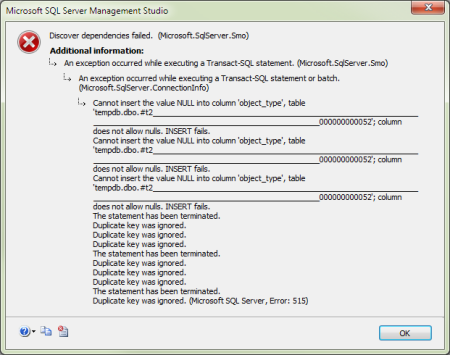 SSMS: Discover dependencies failed. (Microsoft.SqlServer.SMO)