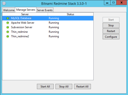 Bitnami Redmine Stack Manager Tool